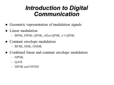 Introduction to Digital Communication