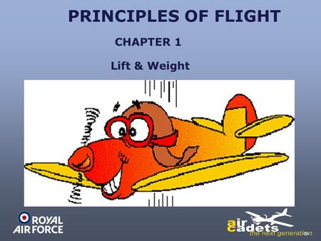 PRINCIPLES OF FLIGHT Lift & Weight CHAPTER 1. PRINCIPLES OF FLIGHT CENTRE OF GRAVITY THE POINT ON A BODY WHERE THE TOTAL WEIGHT OF THAT BODY IS SAID TO.