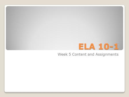 ELA 10-1 Week 5 Content and Assignments. Google Classroom From now on we will be using Google Classroom as a means to access your Cyber High class! I.