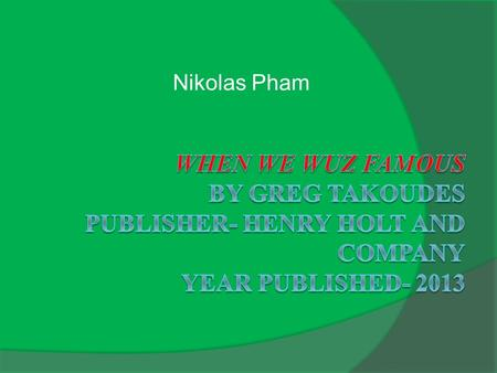 Nikolas Pham. Introduction  The setting of the story is in New York where the main character, Francisco, has to leave his home in Spanish Harlem. He.