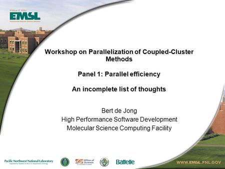 Workshop on Parallelization of Coupled-Cluster Methods Panel 1: Parallel efficiency An incomplete list of thoughts Bert de Jong High Performance Software.