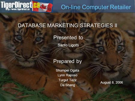 DATABASE MARKETING STRATEGIES II Prepared by Shumpei Ogata Lynn Raposo Turgut Tezir Da Shang Presented to Santo Ligotti August 8, 2006 On-line Computer.
