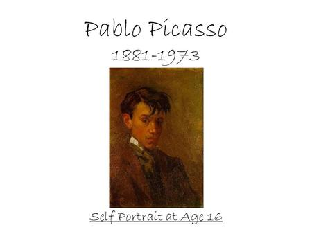 Pablo Picasso 1881-1973 Self Portrait at Age 16. From the Guinness Book of World Records MOST PROLIFIC ARTIST Picasso was the most prolific artist of.