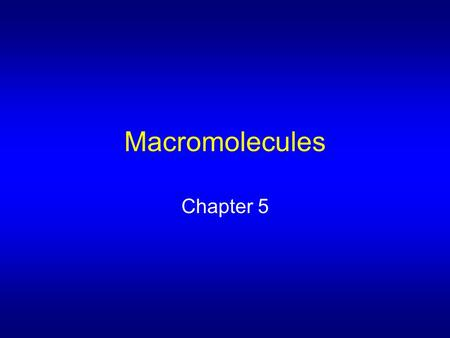 Macromolecules Chapter 5 All are polymers Monomer – subunit of polymer Macromolecule – large organic polymer Those found in living systems: Carbohydrates.