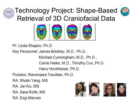 Technology Project: Shape-Based Retrieval of 3D Craniofacial Data PI: Linda Shapiro, Ph.D. Key Personnel: James Brinkley, M.D., Ph.D., Michael Cunningham,