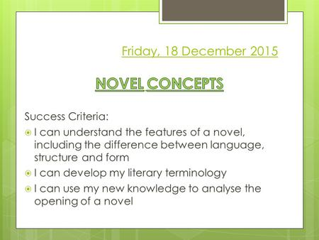 Friday, 18 December 2015. Novel Concepts  Match the term to the definition  For each feature, identify whether it is primarily an aspect of language,