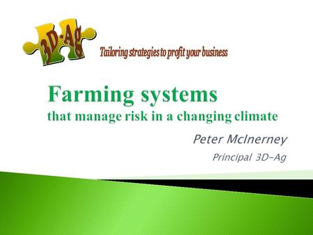 Peter McInerney Principal 3D-Ag  More than just your production system = Physical, financial and human elements of the farm business AND how they interrelate.