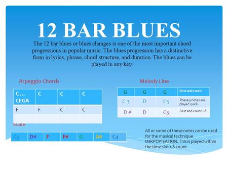 12 BAR BLUES The 12 bar blues or blues changes is one of the most important chord progressions in popular music. The blues progression has a distinctive.