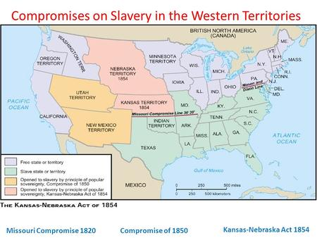 Compromises on Slavery in the Western Territories Missouri Compromise 1820 Compromise of 1850 Kansas-Nebraska Act 1854.