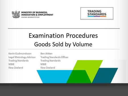 Examination Procedures Goods Sold by Volume