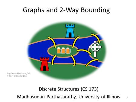 Graphs and 2-Way Bounding Discrete Structures (CS 173) Madhusudan Parthasarathy, University of Illinois 1  /File:7_bridgesID.png.