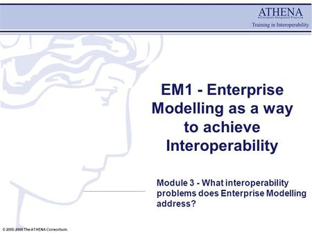 © 2005-2006 The ATHENA Consortium. EM1 - Enterprise Modelling as a way to achieve Interoperability Module 3 - What interoperability problems does Enterprise.