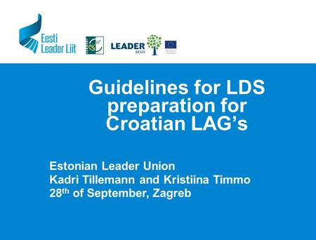 Guidelines for LDS preparation for Croatian LAG's Estonian Leader Union Kadri Tillemann and Kristiina Timmo 28 th of September, Zagreb.