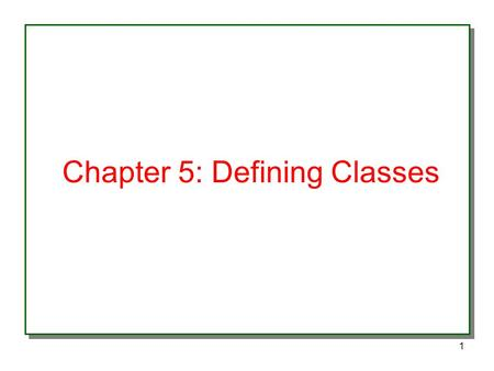 1 Chapter 5: Defining Classes. 2 Basics of Classes An object is a member of a class type What is a class? Fields & Methods Types of variables: –Instance: