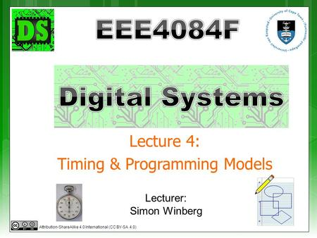 Lecture 4: Timing & Programming Models Lecturer: Simon Winberg Attribution-ShareAlike 4.0 International (CC BY-SA 4.0)