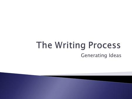 Generating Ideas. Through experience and practice, successful writers have made two discoveries that can help you succeed with your writing:  Writing.