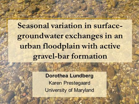 Seasonal variation in surface- groundwater exchanges in an urban floodplain with active gravel-bar formation Dorothea Lundberg Karen Prestegaard University.
