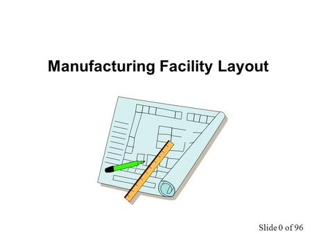 Slide 0 of 96 Manufacturing Facility Layout. Slide 1 of 96 Basic Layout Forms Process Product Cellular Fixed position Hybrid.