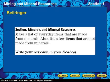 Mining and Mineral ResourcesSection 1 Bellringer.