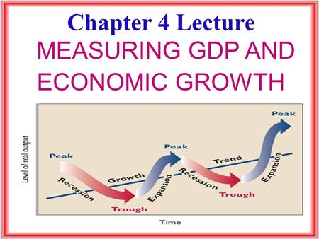 Chapter 4 Lecture MEASURING GDP AND ECONOMIC GROWTH.