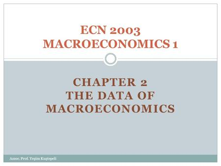 CHAPTER 2 THE DATA OF MACROECONOMICS ECN 2003 MACROECONOMICS 1 Assoc. Prof. Yeşim Kuştepeli.