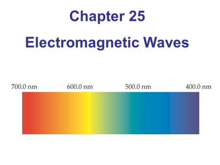 Chapter 25 <strong>Electromagnetic</strong> Waves. Units of Chapter 25 The Production of <strong>Electromagnetic</strong> Waves The Propagation of <strong>Electromagnetic</strong> Waves The <strong>Electromagnetic</strong>.