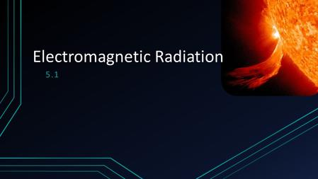 5.1 Electromagnetic Radiation. Wave motion The transfer of energy without matter is called wave motion Two Types.