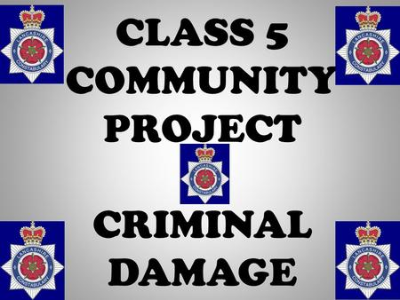 CLASS 5 COMMUNITY PROJECT CRIMINAL DAMAGE A person who, without lawful excuse, destroys or damages any property belonging to another, intending to.