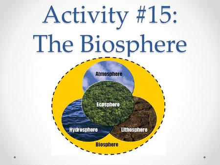 Activity #15: The Biosphere. EQ How do Earth's biotic and abiotic factors interact to shape ecosystems and affect the survival of organisms over time?