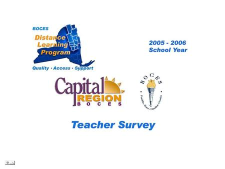.. CRB/FEH Distance Learning Project Teacher Survey 2005– 2006 School Year BOCES Distance Learning Program Quality Access Support.
