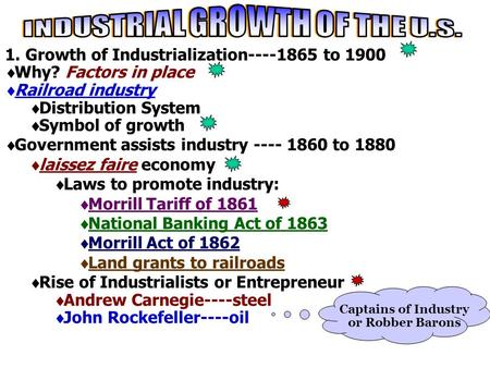 1. Growth of Industrialization----1865 to 1900  Why? Factors in place  Railroad industry  Distribution System  Symbol of growth  Government assists.