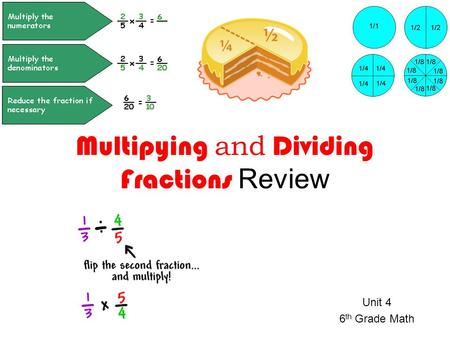 Unit 4 6 th Grade Math Multipying and Dividing Fractions Review.