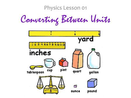 Converting Between Units Physics Lesson 01. Before we get started: Think about when you're cooking from a recipe. How do you know how much of each ingredient.