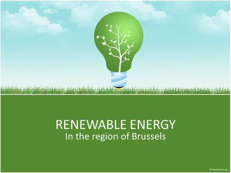 RENEWABLE ENERGY In the region of Brussels. Some numbers In 2010 28% of the electricity in Europe was generated by nuclear facilities. In Belgium 51%!