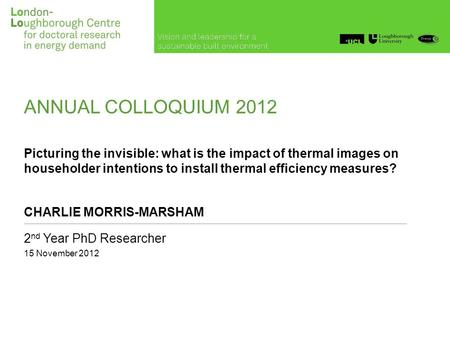 ANNUAL COLLOQUIUM 2012 Picturing the invisible: what is the impact of thermal images on householder intentions to install thermal efficiency measures?