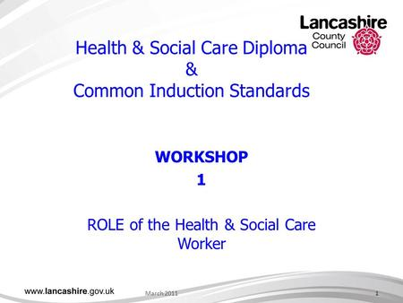 Health & Social Care Diploma & Common Induction Standards WORKSHOP 1 ROLE of the Health & Social Care Worker March 20111.