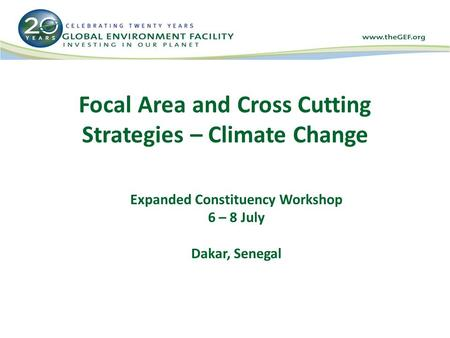 Focal Area and Cross Cutting Strategies – Climate Change Expanded Constituency Workshop 6 – 8 July Dakar, Senegal.