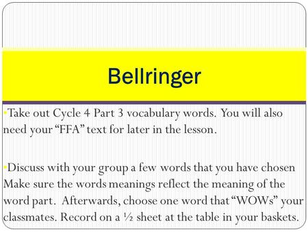 "Take out Cycle 4 Part 3 vocabulary words. You will also need your ""FFA"" text for later in the lesson. Discuss with your group a few words that you have."