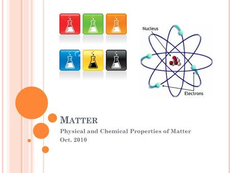 M ATTER Physical and Chemical Properties of Matter Oct. 2010.
