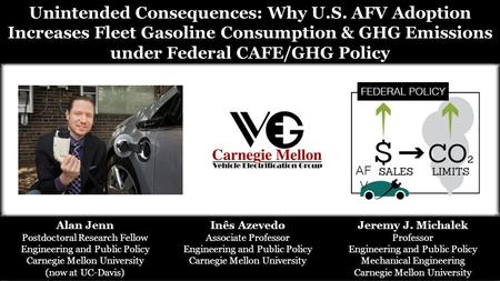 Unintended Consequences: Why U.S. AFV Adoption Increases Fleet Gasoline Consumption & GHG Emissions under Federal CAFE/GHG Policy Jeremy J. Michalek Professor.