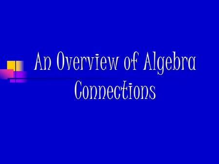 An Overview of Algebra Connections. What's new? Numbering system 2.1.3 ~ Chapter 2/Section 1/Lesson 3 Five Ways of Thinking Justifying, Generalizing,