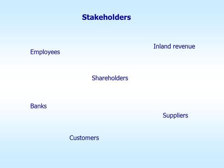 Stakeholders Inland revenue Banks Shareholders Employees Suppliers Customers.