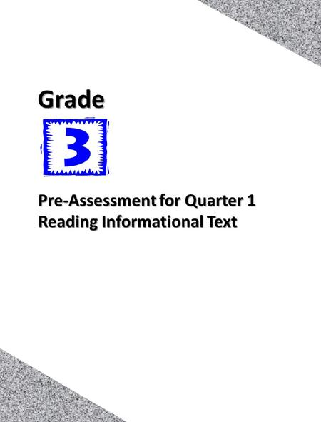 1 Pre-Assessment for Quarter 1 Reading Informational Text Grade.