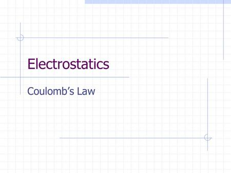 Electrostatics Coulomb's Law. F = (kq 1 q 2 )/r 2 K = 9 x 10 9 Nm 2 /C 2 Positive force means repulsion Negative force means attraction.