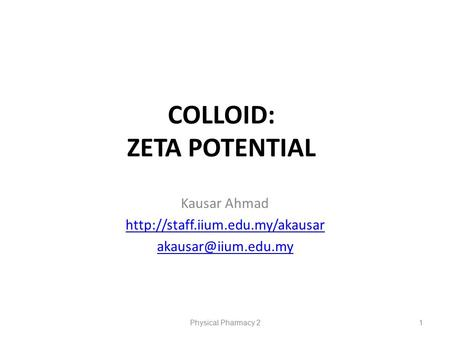 COLLOID: ZETA POTENTIAL