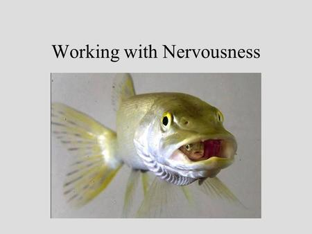 Working with Nervousness Nervousness is Normal Learn to accept and work with your nervousness. Let it give you energy to plan the presentation. Let it.