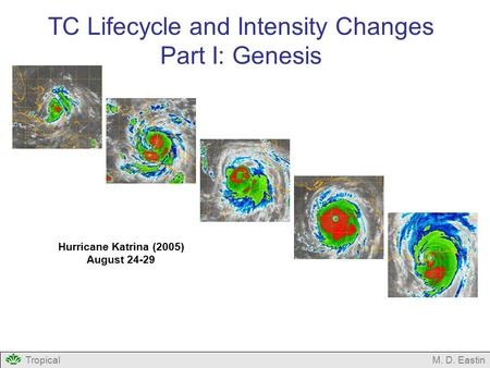 TropicalM. D. Eastin TC Lifecycle and Intensity Changes Part I: Genesis Hurricane Katrina (2005) August 24-29.