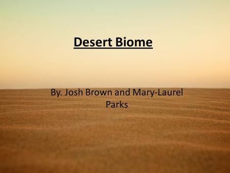Desert Biome By. Josh Brown and Mary-Laurel Parks.