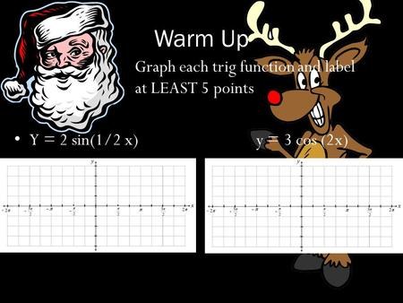 Warm Up Graph each trig function and label at LEAST 5 points Y = 2 sin(1/2 x)y = 3 cos (2x)