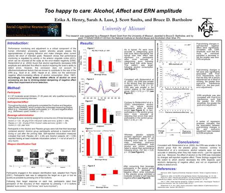 Too happy to careAlcohol, Affect and ERN amplitude Too happy to care: Alcohol, Affect and ERN amplitude Conclusions: Consistent with Ridderinkhof et al.